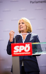 25.08.2014, Parlament, Wien, AUT, SPOe, Pressekonferenz zu den Personalentscheidungen nach Sitzung des Parteipraesidium. im Bild vorgeschlagene Nationalratspraesidentin Doris Bures// designated President of the National Council of Austria Doris Bures (SPOe) during press conference after Executive Committee meeting of SPOe at Austrian Parliament in Vienna, Austria on 2014/08/25 EXPA Pictures © 2014, PhotoCredit: EXPA/ Michael Gruber