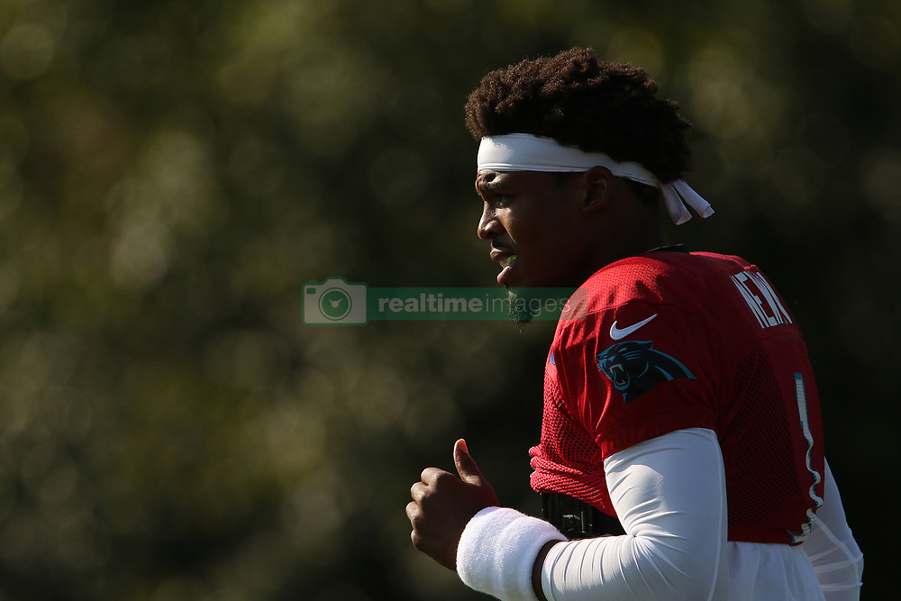 July 28, 2018 - Spartanburg, SC, U.S. - SPARTANBURG, SC - JULY 28: Cam Newton (1) quarterback Carolina Panthers jogs to the field for the third day of the Carolina Panthers training camp practice at Wofford College July 28, 2018 in Spartanburg, S.C. (Photo by John Byrum/Icon Sportswire) (Credit Image: © John Byrum/Icon SMI via ZUMA Press)