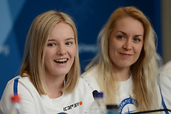 February 8, 2018 - Pyeonchang, Republic of Korea - VENLA LEHTONEN and LAURA TOIVANEN of the Finnish biathlon team at a press conference prior to the start of the 2018 Olympic Games (Credit Image: © Christopher Levy via ZUMA Wire)