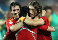 Spanish team celebrates victory after penalty shots at the UEFA EURO 2008 Quarter-Final soccer match between Spain and Italy at Ernst-Happel Stadium, on June 22,2008, in Wien, Austria.  (Photo by Vid Ponikvar / Sportal Images)