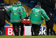 Leeds United defender Pontus Jansson (18) is stretchered off during the EFL Sky Bet Championship match between Leeds United and Cardiff City at Elland Road, Leeds, England on 3 February 2018. Picture by Paul Thompson.