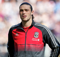 NEWCASTLE-UPON-TYNE, ENGLAND - Sunday, April 1, 2012: Liverpool's Andy Carroll before the Premiership match against his former club Newcastle United at St James' Park. (Pic by Vegard Grott/Propaganda)