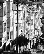 North Beach houses on a sunny street ca. 1949