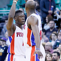 25 January 2016: Detroit Pistons guard Reggie Jackson (1) is congratulated by Detroit Pistons forward Anthony Tolliver (43) during the Detroit Pistons 95-92 victory over the Utah Jazz, at the Vivint Smart Home Arena, Salt Lake City, Utah, USA.