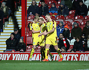 Burnley midfielder Scott Arfield celebrates scoring first goal during the Sky Bet Championship match between Brentford and Burnley at Griffin Park, London, England on 15 January 2016. Photo by Matthew Redman.