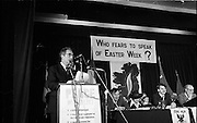 Sinn Fein Ard Fheis.      K63..1976..17.10.1976..10.17.1976..17th October 1976..The Sinn Fein (Kevin Street) Ard Fheis was held over the weekent of the 16th / 17th October at the Mansion House, Dawson Street, Dublin. Mr Ruairi O Bradaigh, President of Provisional Sinn Fein, gave the keynote speech..Mr Ruairi O'Bradaigh is pictured delivering his keynote speech at the Sinn Fein Ard Fheis in the Mansion House.