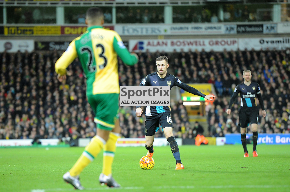 Arsenals Aaron Ramsey in action during the Norwich v Arsenal game in the Barclays Premier League on Sunday 29th November 2015 at Carrow Road