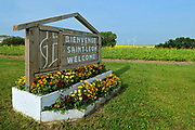 Welcome sign of St. Leon village, Saint Leon, Manitoba, Canada