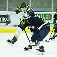4th year forward Emma Waldenberger (9) of the Regina Cougars in action during the Women's Hockey home game on October 14 at Co-operators arena. Credit: Arthur Ward/Arthur Images
