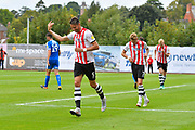 Goal - Aaron Martin (5) of Exeter City celebrates scoring a goal to make the score 5-1 during the EFL Sky Bet League 2 match between Exeter City and Notts County at St James' Park, Exeter, England on 8 September 2018.