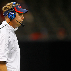 September 22, 2012; New Orleans, LA, USA; Ole Miss Rebels head coach Hugh Freeze during a game against the Tulane Green Wave at the Mercedes-Benz Superdome.  Mandatory Credit: Derick E. Hingle-US PRESSWIRE
