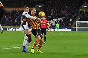 Hull City midfielder Kamil Grosicki (14) and West Bromwich Albion midfielder Jake Livermore (8) during the EFL Sky Bet Championship match between Hull City and West Bromwich Albion at the KCOM Stadium, Kingston upon Hull, England on 3 November 2018.
