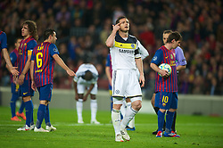 BARCELONA, SPAIN - Tuesday, April 24, 2012: Chelsea's captain Frank Lampard looks dejected as FC Barcelona are awarded a penalty during the UEFA Champions League Semi-Final 2nd Leg match at the Camp Nou. (Pic by David Rawcliffe/Propaganda)