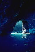Kayaking in cave, Napali Coast, Kauai, Hawaii<br />