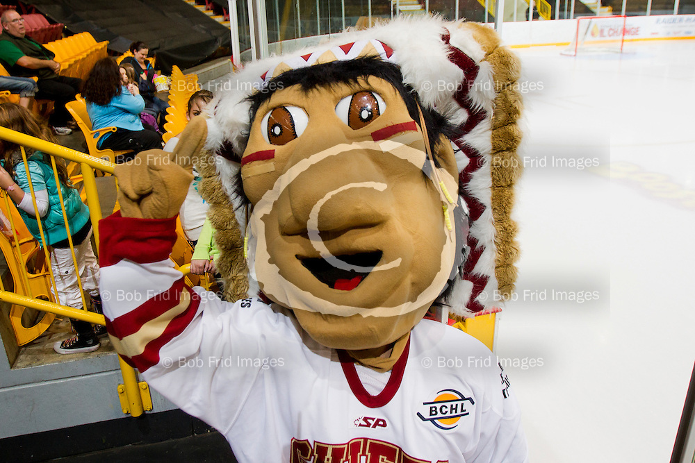 22 September 2012:  mascot  during a game between the Chilliwack Chiefs and the Victoria Grizzlies at  Prospera Centre, Chilliwack, BC.    Final Score: Chilliwack 2  Victoria 4   ****(Photo by Bob Frid - All Rights Reserved 2012): mobile: 778-834-2455 : email: bob.frid@shaw.ca ****