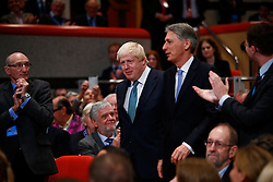 October 5, 2016 - Birmingham, UK - Birmingham, UK. Chancellor PHILIP HAMMOND, Foreign Secretary BORIS JOHNSON and Home Secretary AMBER RUDD get ready to listen Prime Minister Theresa May's final speech at Conservative Party Conference at International Conference Centre in Birmingham on Wednesday, 5 October 2016. (Credit Image: © Tolga Akmen/London News Pictures via ZUMA Wire)
