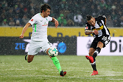 MOENCHENGLADBACH, March 3, 2018  Raul Bobadilla (R) of Moenchengladbach shoots during the Bundesliga match between Borussia Moenchengladbach and SV Werder Bremen at Borussia-Park on March 2, 2018. in Moenchengladbach, Germany. The match ended with a 2-2 draw. (Credit Image: © Ulrich Hufnagel/Xinhua via ZUMA Wire)