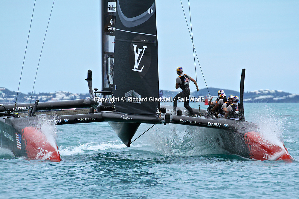 Oracle Team USA finishes Race 6  - America's Cup 2017, June 24, 2017 - Great Sound Bermuda.<br /> Copyright photo: Richard Gladwell / www.photosport.nz