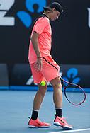 DENIS SHAPOVALOV (CAN) wirft den Ball kurz vor dem Aufschlag von hinten durch die Beine,Angewohnheit,kurios,<br /> <br /> Tennis - Australian Open 2018 - Grand Slam / ATP / WTA -  Melbourne  Park - Melbourne - Victoria - Australia  - 15 January 2018.