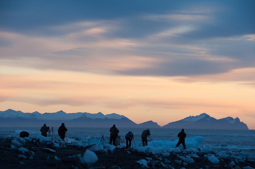 Photographers at dawn on Jokulsarlon beach