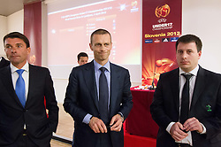 Saso Udovic, Aleksander Ceferin and Ales Zavrl during the Final Round Draw of 11th UEFA European U17 Championship 2011/12, on April 4, 2012, in Ljubljana, Slovenia. (Photo by Vid Ponikvar / Sportida.com)