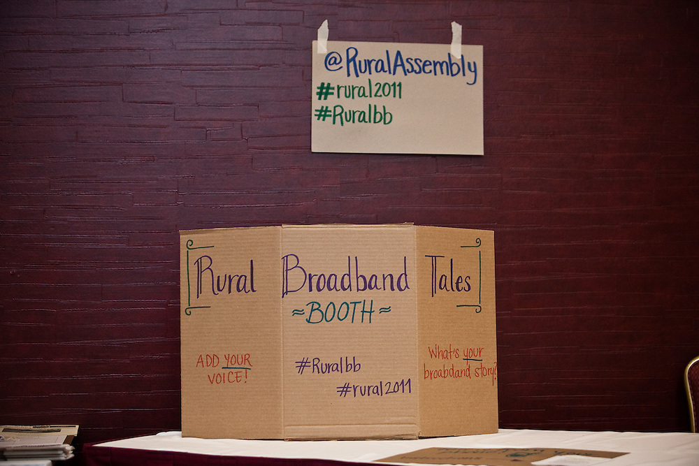The broadband group set up reminders about Tweeting on the second day of the National Rural Assembly in St. Paul, MN.