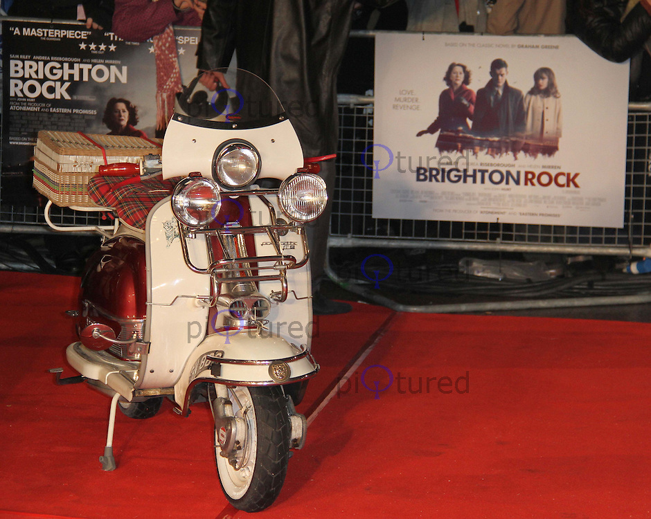 Lambretta Scooter Brighton Rock European Premiere, Odeon West End Cinema, Leicester Square, London, UK, 01 February 2011: Contact: Ian@Piqtured.com +44(0)791 626 2580 (Picture by Richard Goldschmidt)