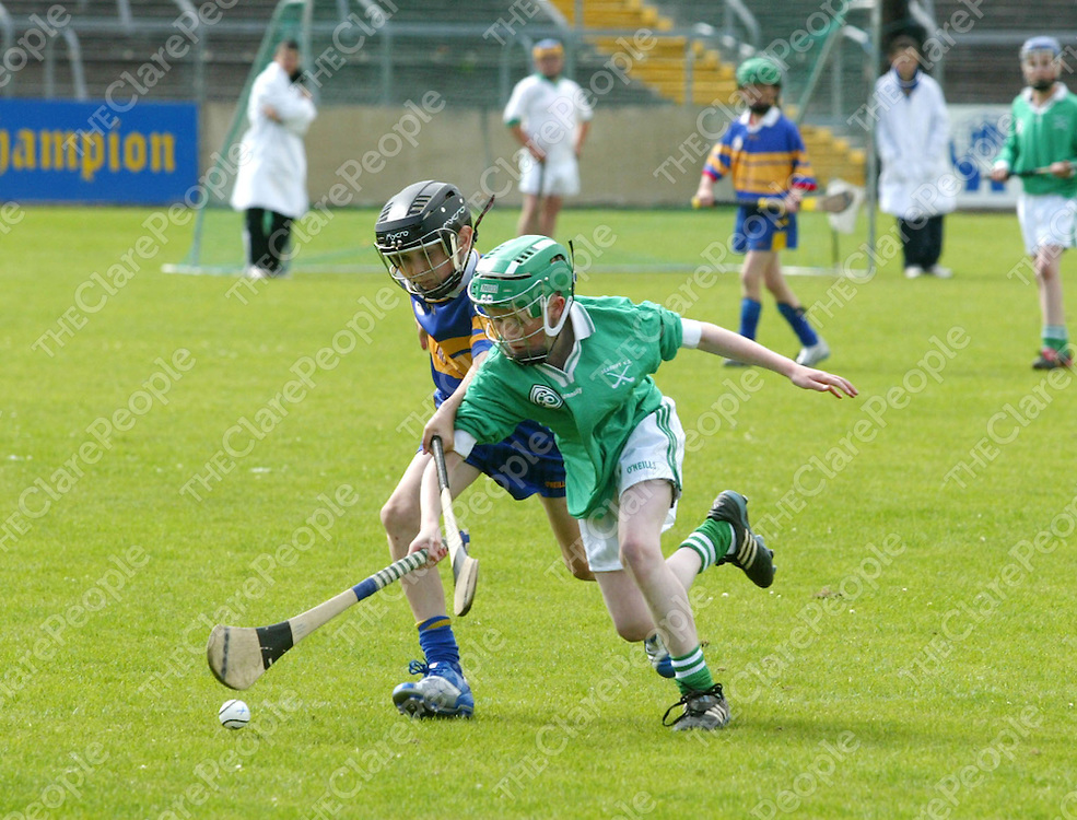 Clare Primary Schools Finals between Scariff & Newmarket on Fergus National Schools. Pictured are Newmarket on Fergus's Ryan Corry  fighting off the attacks from Scariff's Patrick O'Dwyer. Pic. Emma Jervis/ Press 22.