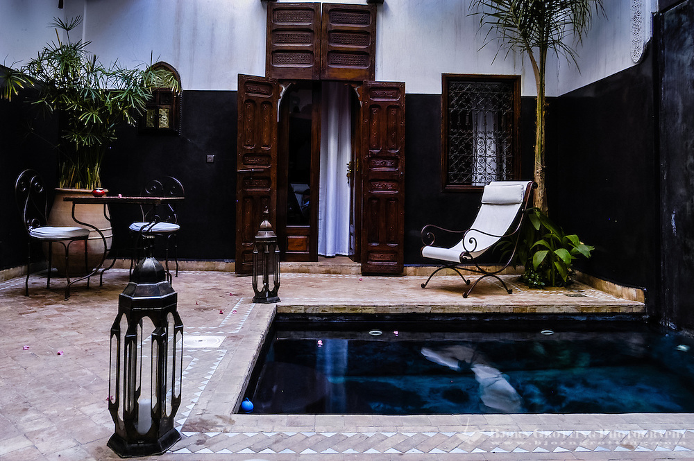 Morocco. Marrakesh medina in the area known as Kasbah. Inside one of the many Riads.