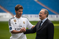 Real Madrid´s President Florentino Perez (R) and Brazil international soccer player Lucas Silva during his official presentation at the Santiago Bernabeu stadium in Madrid, Spain. May 26, 2013. (ALTERPHOTOS/Victor Blanco)