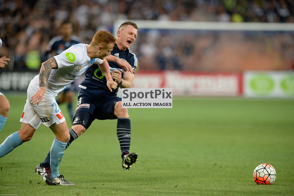 Jack Clisby of Melbourne City, Besart Berisha of Melbourne Victory - Hyundai A-League, 19th December 2015, RD11 match between Melbourne City FC v Melbourne Victory FC at Aami Park in a 2:1 win to City in front of a 23,000+ crowd. Melbourne Australia. © Mark Avellino | SportPix.org.uk