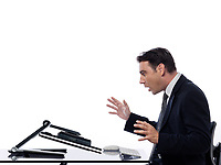 relationship between a caucasian man and a computer display monitor on isolated white background expressing breakdown surprise concept