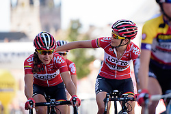 Elise Delzenne and Lieselot Decroix (Lotto Soudal) make their way to Decroix's final sign in before she retires after the 97 km Stage 3 of the Lotto Belgium Tour 2016 on 9th September 2016 in Geraardsbergen, Belgium. (Photo by Sean Robinson/Velofocus).