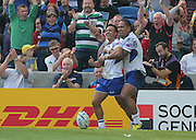 Samoa Tim Nanai-Williams celebrates scoring a try during the Rugby World Cup 2015 match between Samoa and USA at the Brighton Community Stadium, Falmer, United Kingdom on 20 September 2015.