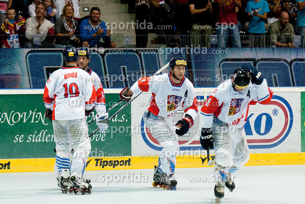 Team Czech Republic celebrate goal at IIHF In-Line Hockey World Championships 2011 Top Division Gold medal game between National teams of Czech republic and USA on June 25, 2011, in Pardubice, Czech Republic. (Photo by Matic Klansek Velej / Sportida)