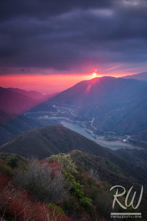 Stormy Sunset Over Azusa Canyon, San Gabriel Mountains, California