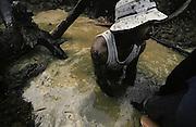 Guyane fran&ccedil;aise, boca do jacare, crique Ipoussing.<br /> <br /> Orpaillage clandestin bresilien.<br /> <br /> On cherche ici les paillettes d'or contenues dans le sol. On creuse d'abord des barranques au fond desquelles les ouvriers travaillent la couche de graviers auriferes.<br /> Un garimpeiro recupere les gravats les plus lourds en les aspirant avec une suceuse qui les emmenes jusqu'a une table ou ils seront traites.