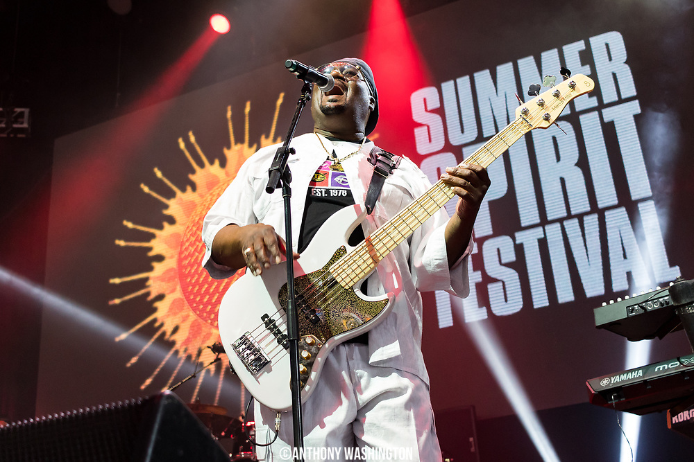 Big Tony of Trouble Funk performs during the Summer Spirit Festival at Merriweather Post Pavilion in Columbia, Md on Sunday, August 6, 2017.
