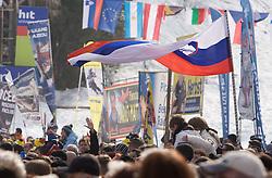Slovenian fans at 9th men's slalom race of Audi FIS Ski World Cup, Pokal Vitranc,  in Podkoren, Kranjska Gora, Slovenia, on March 1, 2009. (Photo by Vid Ponikvar / Sportida)
