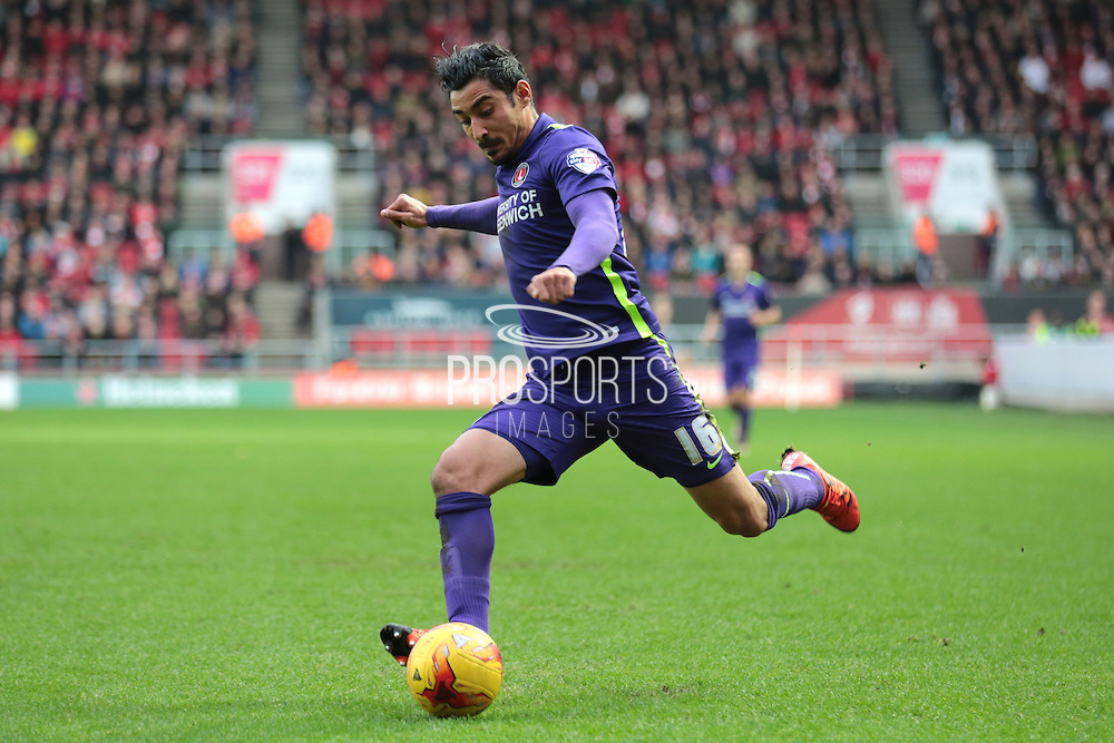 Charlton Athletic forward Reza Ghoochannejhad during the Sky Bet Championship match between Bristol City and Charlton Athletic at Ashton Gate, Bristol, England on 26 December 2015. Photo by Jemma Phillips.