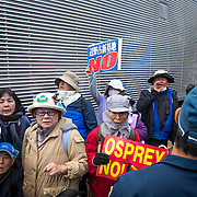 OKINAWA, JAPAN - JANUARY 21 : Anti U.S. Base relocation protesters with placards stage a rally outside the Camp Schwab to protest against the construction of the new U.S Marine Airbase outside of Camp Schwab, Henoko, Nago, Okinawa, Japan on January 21, 2017. (Photo by Richard Atrero de Guzman/ANADOLU Agency)