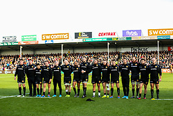 Exeter Chiefs line up during the act of Remembrance before kick off - Rogan/JMP - 10/11/2019 - RUGBY UNION - Sandy Park - Exeter, England - Exeter Chiefs v Bristol Bears - Gallagher Premiership.