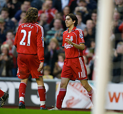 LIVERPOOL, ENGLAND - Saturday, January 26, 2008: Liverpool's Yossi Benayoun celebrates scoring his hat-trick goal, the Reds' fourth, against Havant and Waterlooville during the FA Cup 4th Round match at Anfield. (Photo by David Rawcliffe/Propaganda)