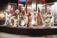 British pop group The Wombles, who had eight hit records in 1974 and 1975. The group, led by Mike Batt, was a spin-off from the successful children's TV series featuring characters created by British author Elisabeth Beresford.
