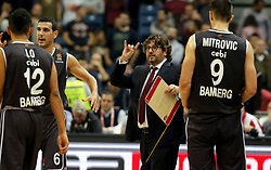 BELGRADE, Nov. 3, 2017  Brose Bamberg's head coach Andrea Trinchieri (2nd R) reacts during the Euroleague basketball regular season match between Crvena Zvezda and Brose Bamberg in Belgrade, Serbia on Nov. 2. 2017. Brose Bamberg won 75-69. (Credit Image: © Predrag Milosavljevic/Xinhua via ZUMA Wire)
