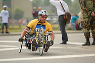 July 4th, 2006:  Anchorage, Alaska - William Smith (379), a Army veteran from Modesto, California, enters turn one of the 5k handcycle event at the 26th National Veterans Wheelchair Games..