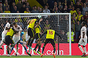 Watford defender Christian Kabasele (27) heads at goal in the last minute during the Premier League match between Watford and Manchester United at Vicarage Road, Watford, England on 15 September 2018.