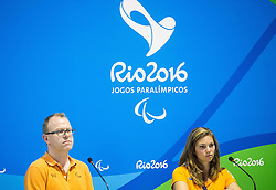 Craig Spence of IPC and Athlete Marlou van Rhijn at press conference in the Paralympic Village 1 day ahead of the Rio 2016 Summer Paralympics Games on September 6, 2016 in Rio de Janeiro, Brazil. Photo by Vid Ponikvar / Sportida