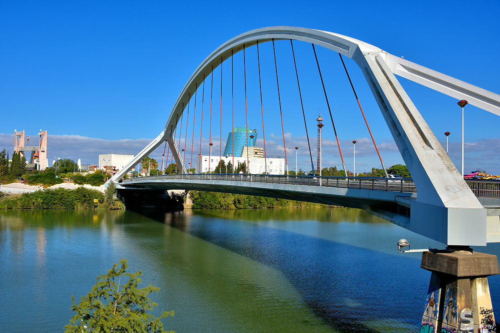 Puente de la Barqueta Connecting Cartuja Island, in Seville, Spain<br />