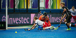 England's Barry Middleton dives foward but misses getting a touch. England v Germany - Semi-Final Unibet EuroHockey Championships, Lee Valley Hockey & Tennis Centre, London, UK on 27 August 2015. Photo: Simon Parker
